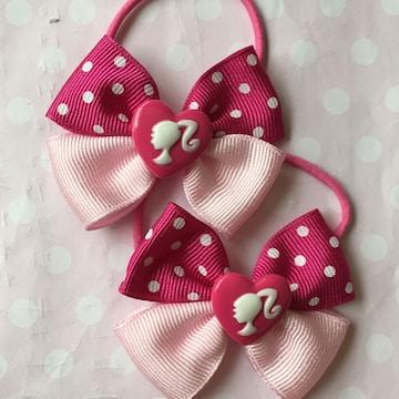 濃いピンクドット×ピンク☆ハート女の子☆2個