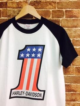 表記S/新品!ハーレー 染込みプリントラ No1 グラン Tシャツ USA バイク バイカー 2