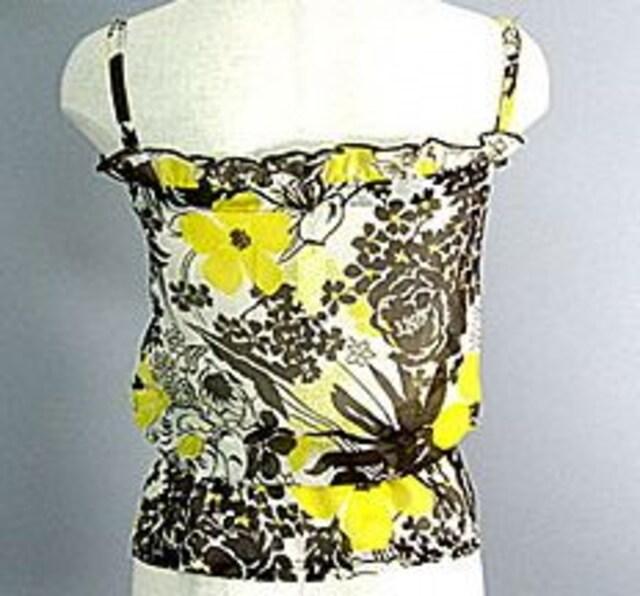 バニティバニラシフォン花柄キャミ黄 < 女性ファッションの