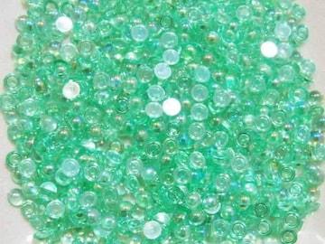 5mmクリア丸ポコ オーロラグリーン100個