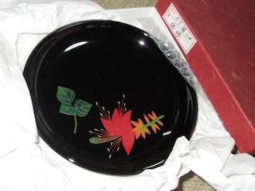 未使用☆5寸銘々皿*食器*梯梧柄(ブラック)漆器