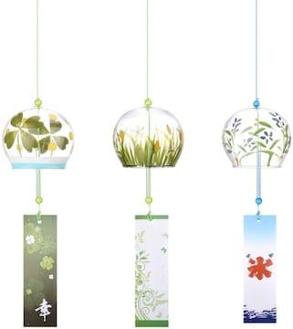 植物 三個セット ガラス風鈴 三個セット 植物 江戸風鈴 夏の風
