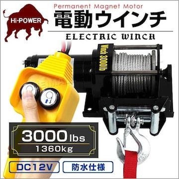 電動ウインチ1361kg 3000LBS  DC12V-k/p