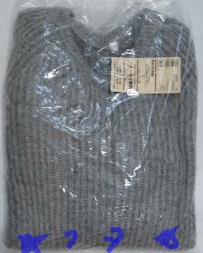 無印良品 良品計画 畦編みセーター L ライトグレー 新品 婦人