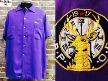 表記XL/刺繍!60's.ビンテージ.ボーリングシャツ.USA.古着.50's.ロカビリー