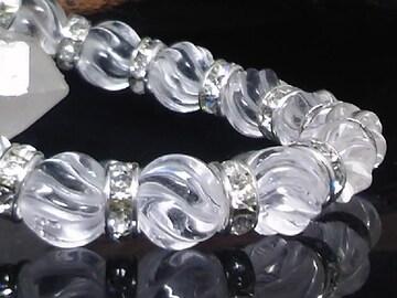 トルネード水晶10ミリ銀ロンデル数珠
