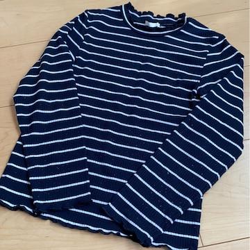 濃紺×白/ボーダー/長袖/ロンT/Tシャツ/130�p