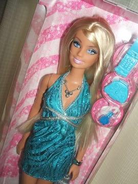 新品グリッタードールブルーバービー人形