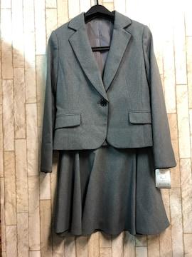新品☆9号プチ♪グレー無地のフレアスカートスーツ☆s850