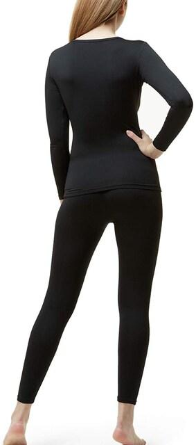 満点評価★冬用起毛Heat Fitインナーウェア上下セット黒XL