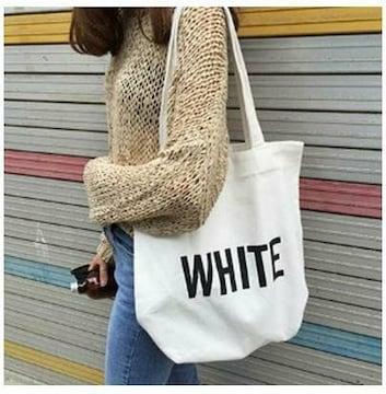 人気商品 手提げバッグ エコバッグ ユニセックス ホワイト