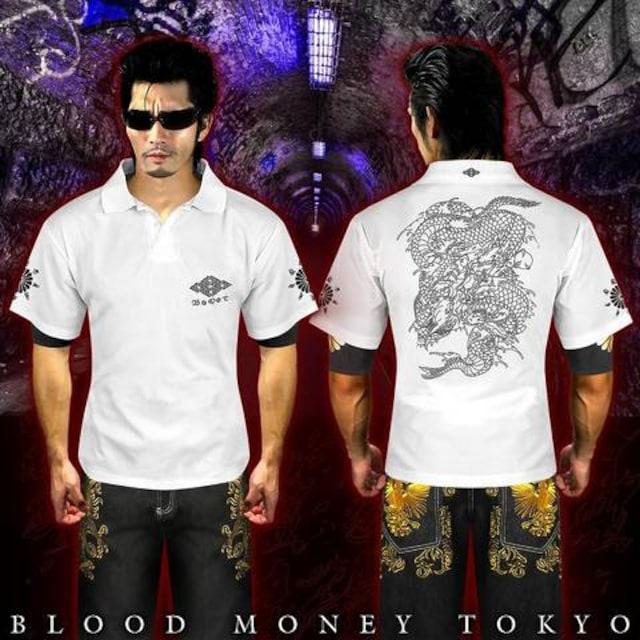 送料無料ヤンキーチンピラオラオラ系和柄半袖ポロシャツ/ホストお兄系服15010白-XL < 男性ファッションの