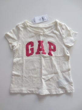 新品即決/BABY GAP/ロゴハートプリント半袖Tシャツ/白/90