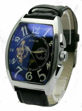 SEWOR 自動巻き 短針連動 腕時計 デイ&ナイト ロイヤルブルー色
