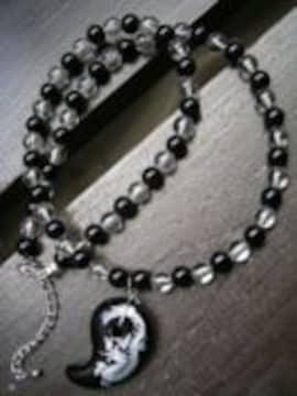 即決☆龍彫オニキス(銀)xオニキスx水晶ネックレス