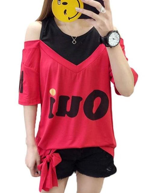 オフショルダー ゆったりTシャツ(M寸・赤)  < 女性ファッションの