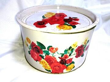 昭和 大きな 缶 花柄 薔薇 レトロ ビンテージ メルヘン ファンシ