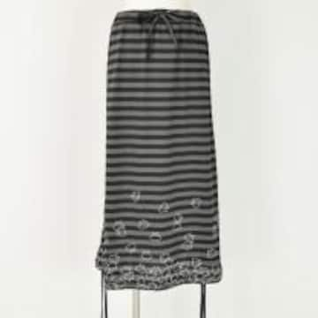 mintNeko・ネコ&ボーダー柄変形ロングスカート。ブラック