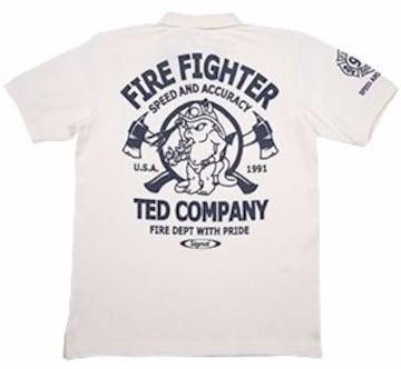 テッドマン/ポロシャツ/白/tsps-131/エフ商会/カミナリモータース
