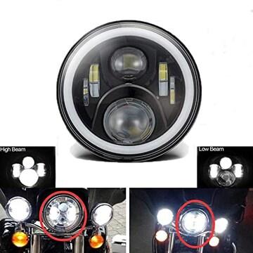 7インチ LEDヘッドライト 45w Hi/Lo ホワイト/イエロー ハーレ