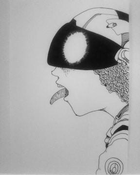 オリジナルイラスト手描きイラスト SF舌出し 自作ハンドメイド絵モノクロアート原画インテリア