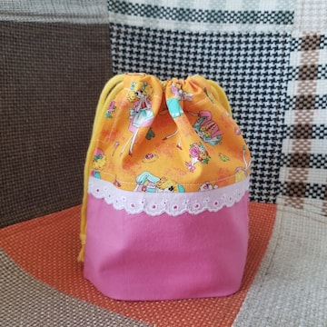昭和レトロ女の子★巾着・コップ入れ★ピンク