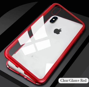iphoneX マグネット ケース 背面強化ガラス バンパー red