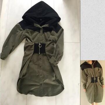 スウェット×ミリタリー ドッキングワンピース 韓国ファッション