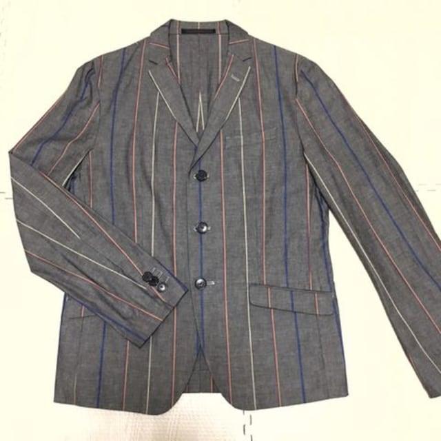【美品】コットン ストライプ柄ジャケット/グレー/メンズM/  < 男性ファッションの