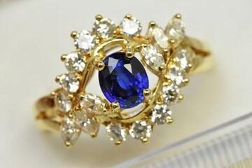 K18 ゴールド サファイア ダイヤモンドリング 12.5号 指輪