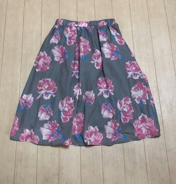 CECIL McBEE★フラワーフレアスカート♪グレー×ピンク