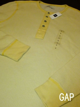 □GAP/ギャップ サーマル ロングTシャツ/メンズ・S/イエロー☆新品