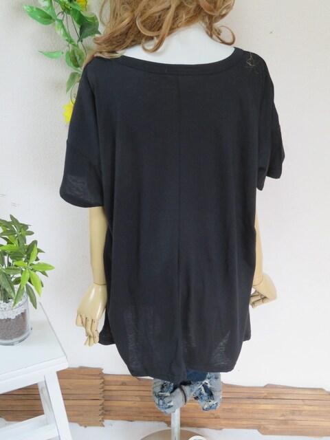 新作◆大きいサイズ3Lブラック◆裾BIGロゴ入り◆チュニック