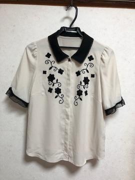 新品リランドチュール配色刺繍ブラウス2アイボリー×黒ベージュ