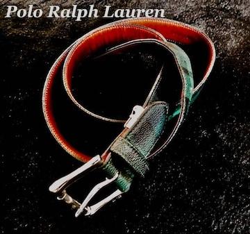 【POLO】ラルフローレン Vintage レザーステッチベルト Free