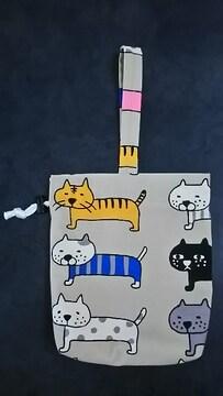 ハンドメイド★トートバッグ 巾着 「猫柄」 紐1本