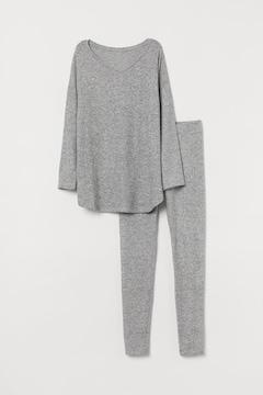 エイチアンドエム/H&Mパジャマ グレーメランジセットアップ