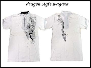 新品 和柄 ヤンキ・b系・チカノスタイルシャツ D12(XL) 白