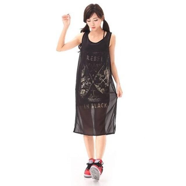 送料無料DrugHoney☆魔法陣紋章プリントシフォンXキャミセットワンピース < 女性ファッションの