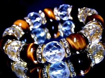 タイガーアイ虎目石§ダイヤカット水晶§14ミリ§金ロンデル