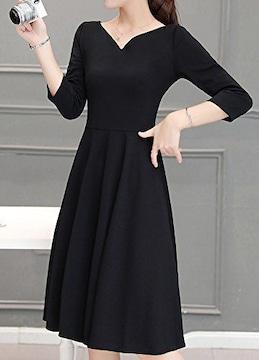 ブラックフォーマル ★七分袖★ひざ丈ワンピース(2XLサイズ)