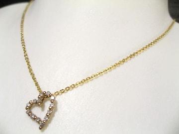 天然ダイヤモンド025キャラ.18金の可愛く高貴オープンハートペンダント永遠の宝飾