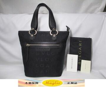 未使用 BVLGARI ブルガリ ロゴ ハンドバック ブラック 黒