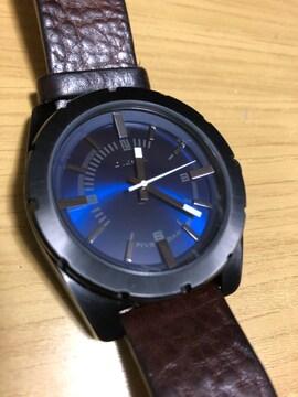 ディーゼル 腕時計レトロ ブルーフェイス レザーベルト