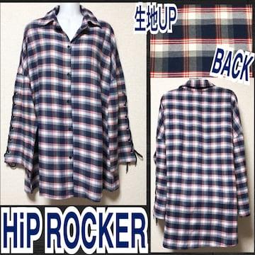 【新品/HiP ROCKER】袖スピンドルチェック柄BIGシャツ/ネイビー