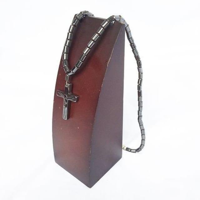 ヘマタイト マグネチック 磁石 クロス 十字架 ネックレス 1238  < 男性アクセサリー/時計の