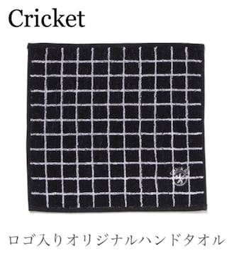 クリケット【新品】ロゴ入り刺繍タオルハンカチ Blackブラック黒
