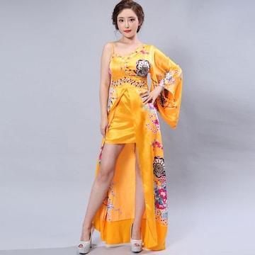 豪華ビジューサテン和柄 ロング着物ドレス 衣装 花魁 チャムドレス