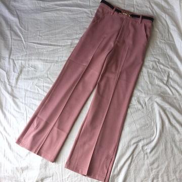 美品/ベルト付きセンタープレスタックパンツM/pink