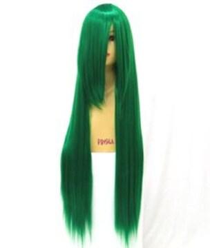新品★即決★ フルウィッグ ロングストレート 緑/グリーン D3